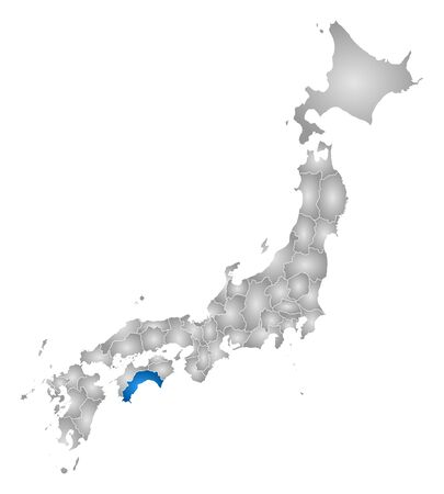 tone shading: Map of Japan with the provinces, filled with a radial gradient, Kochi is highlighted. Illustration