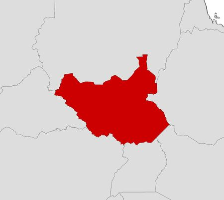 south sudan: Map of South Sudan and nearby countries, South Sudan is highlighted in red. Illustration