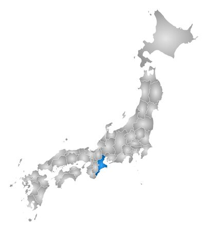 Map of Japan with the provinces, filled with a radial gradient, Mie is highlighted. Illustration