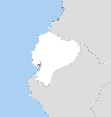 republic of ecuador: Map of Ecuador and nearby countries, Ecuador is highlighted in white.
