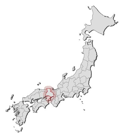 Map of Japan with the provinces, Hyogo is highlighted by a hatching.