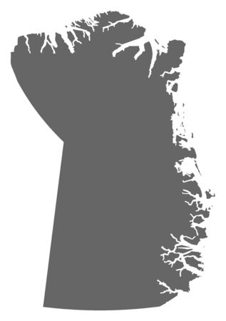 Map of Northeast Greenland National Park, a province of Greenland. Illustration