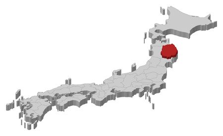 Map of Japan as a gray piece., Iwate is highlighted in red.
