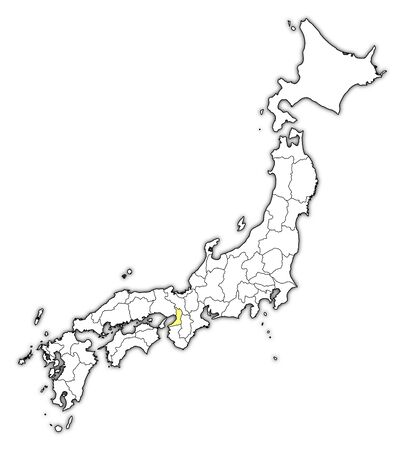 Map of Japan with the provinces, Osaka is highlighted in yellow.