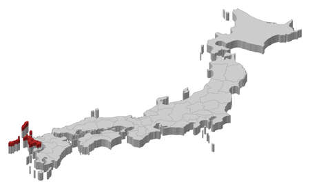 Map of Japan as a gray piece., Nagasaki is highlighted in red. Illustration