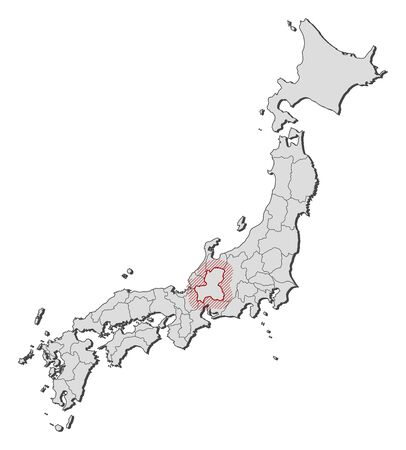 Map of Japan with the provinces, Gifu is highlighted by a hatching.