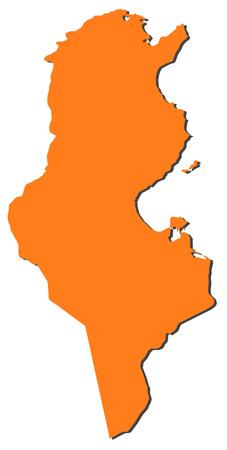 tunisia: Map of Tunisia, filled in orange.