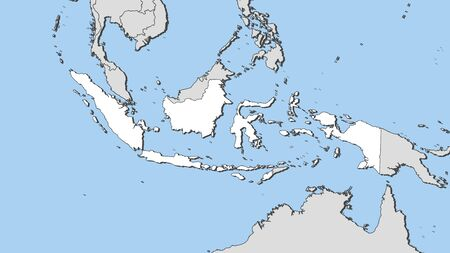 southeastern asia: Map of Indonesia and nearby countries, Indonesia is highlighted in white.