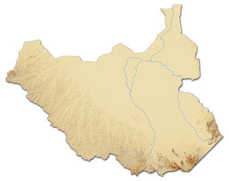 shaded: Relief map of South Sudan with shaded relief.