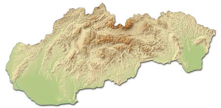 mapa en relieve de Eslovaquia con relieves y sombreados.