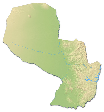Relief map of Paraguay with shaded relief.