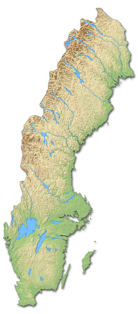 Relief map of Sweden with shaded relief. Banco de Imagens