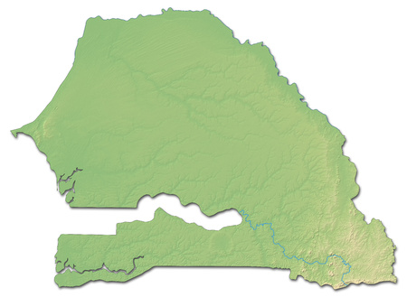 shaded: Relief map of Senegal with shaded relief.