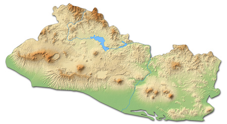 Relief map of El Salvador with shaded relief.