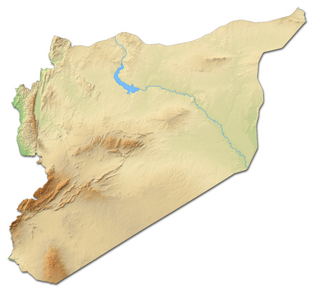 southwestern asia: Relief map of Syria with shaded relief. Stock Photo