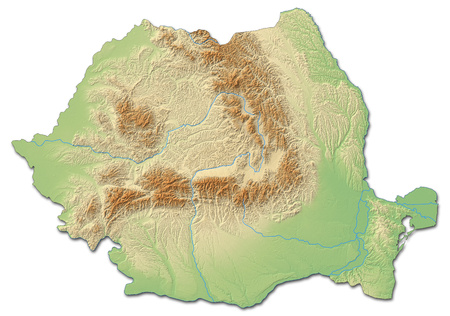 Relief map of Romania with shaded relief.