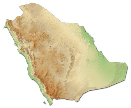 southwestern asia: Relief map of Saudi Arabia with shaded relief.