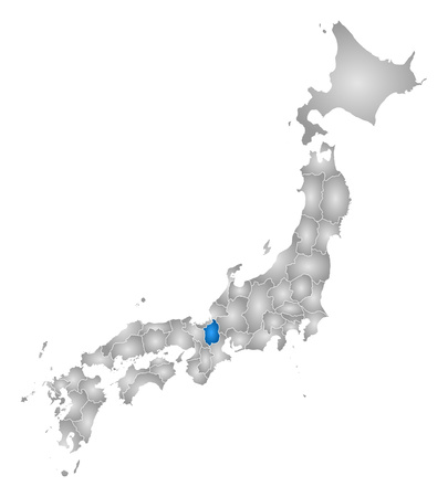 tone shading: Map of Japan with the provinces, filled with a radial gradient, Shiga is highlighted. Illustration
