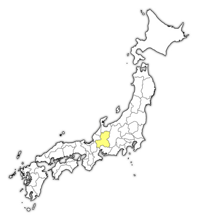 Map of Japan with the provinces, Gifu is highlighted in yellow.