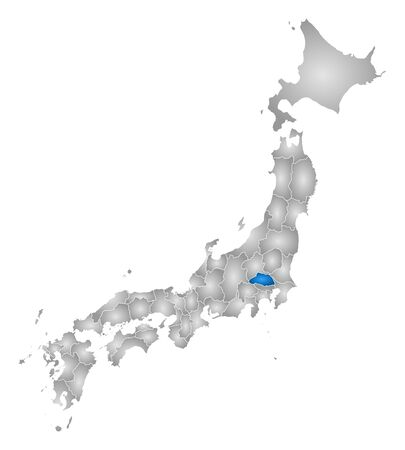 Map of Japan with the provinces, filled with a radial gradient, Saitama is highlighted.