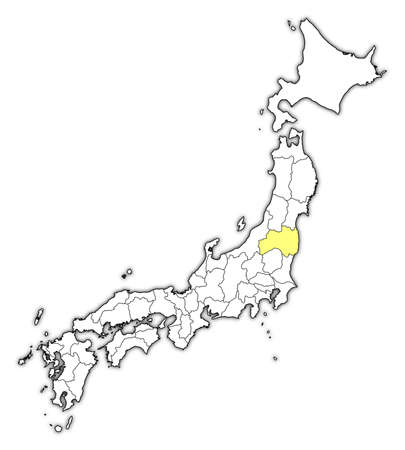 Map of Japan with the provinces, Fukushima is highlighted in yellow.