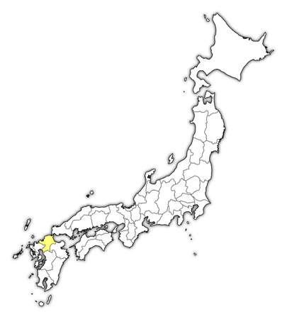 Map of Japan with the provinces, Fukuoka is highlighted in yellow. Illustration