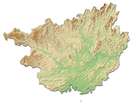 Relief map of Guangxi, a province of China, with shaded relief. Stock Photo