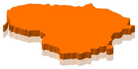 Map of Lithuania as an orange piece. Stock Photo