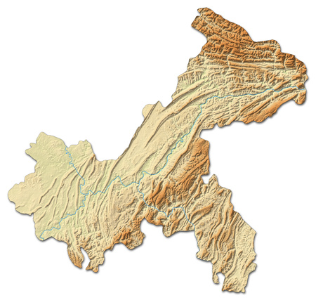 Relief map of Chongqing, a province of China, with shaded relief.