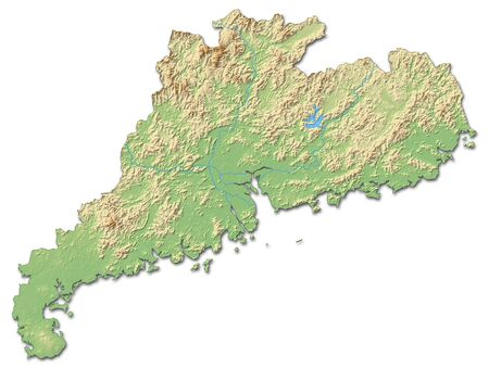 prc: Relief map of Guangdong, a province of China, with shaded relief.