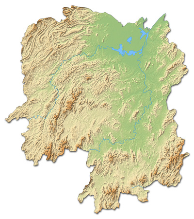 Relief map of Hunan, a province of China, with shaded relief.