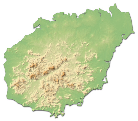 prc: Relief map of Hainan, a province of China, with shaded relief.