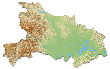 Relief map of Hubei, a province of China, with shaded relief. Stock Photo