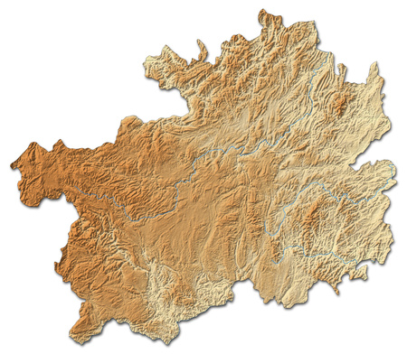 territory: Relief map of Guizhou, a province of China, with shaded relief.