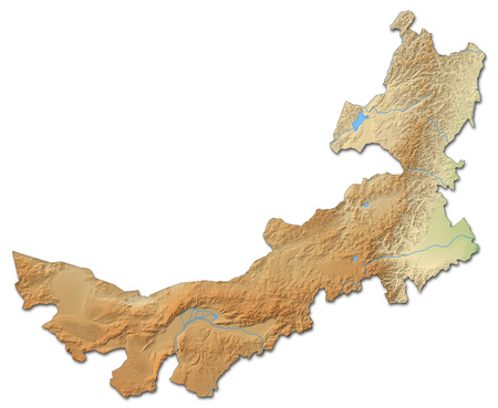 inner: Relief map of Inner Mongolia, a province of China, with shaded relief.