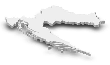 frontiers: Map of Croatia as a gray piece with shadow.