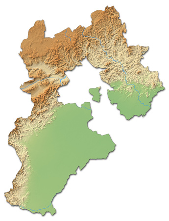Relief map of Hebei, a province of China, with shaded relief.