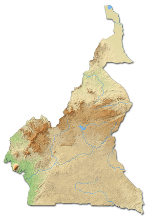 relief: Relief map of Cameroon with shaded relief.