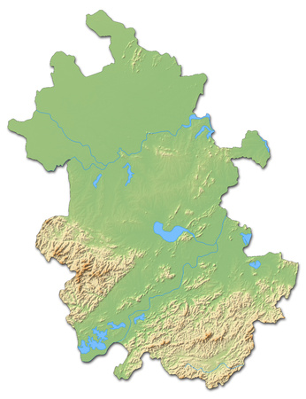 Relief map of Anhui, a province of China, with shaded relief.