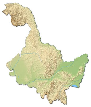 Relief map of Heilongjiang, a province of China, with shaded relief.