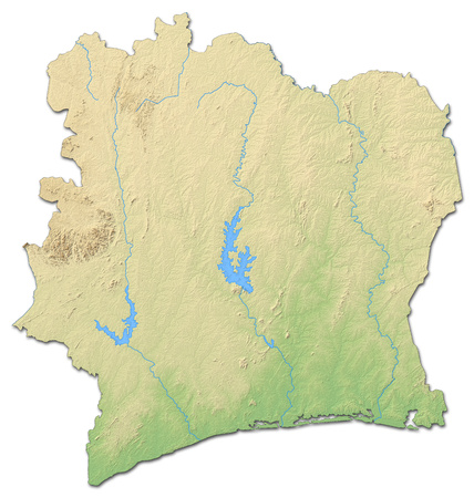 Relief map of Ivory Coast with shaded relief.