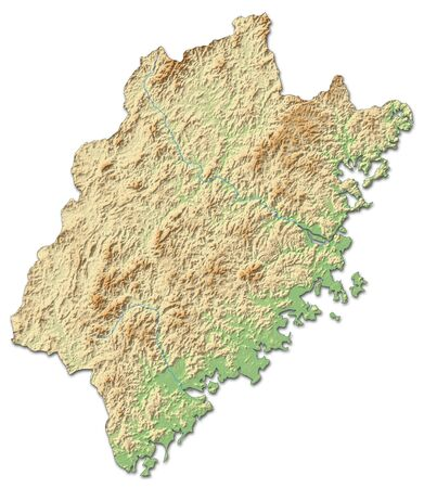 Relief map of Fujian, a province of China, with shaded relief. Stock Photo