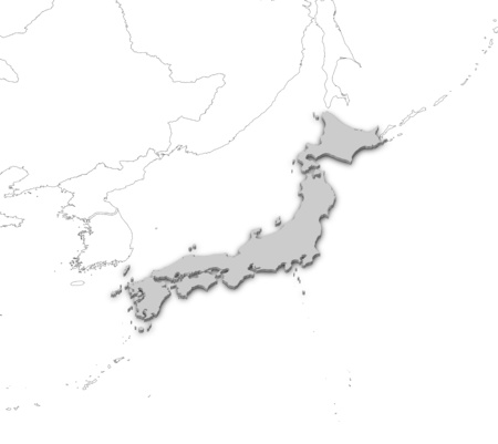 Map of Japan as a gray piece with nearby countries. Stock Photo