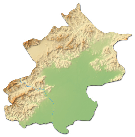 Relief map of Beijing, a province of China, with shaded relief. Stock Photo