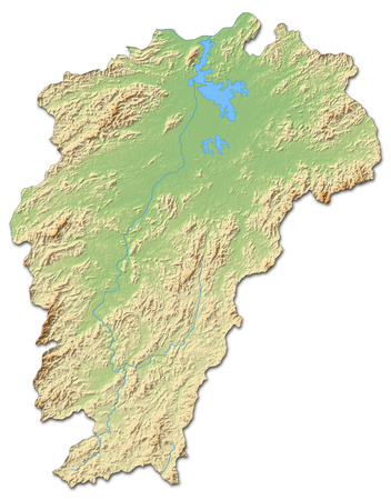 Relief map of Jiangxi, a province of China, with shaded relief. Stock Photo
