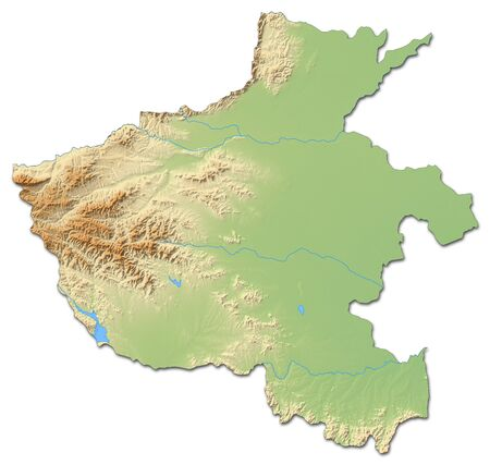 prc: Relief map of Henan, a province of China, with shaded relief.