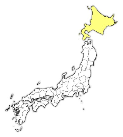 hokkaido: Map of Japan with the provinces, Hokkaido is highlighted in yellow.