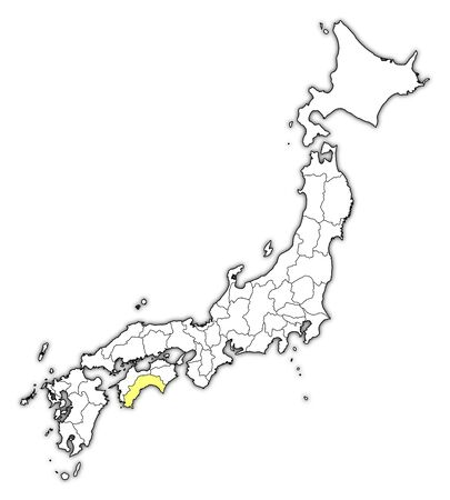 Map of Japan with the provinces, Kochi is highlighted in yellow. Illustration