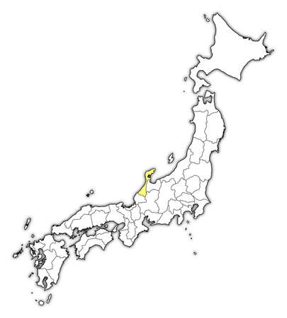 ishikawa: Map of Japan with the provinces, Ishikawa is highlighted in yellow.