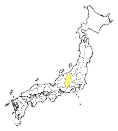 Map of Japan with the provinces, Nagano is highlighted in yellow.